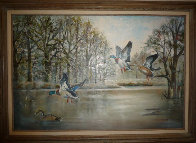 Ducks Over the Pond 1983 31x43 Original Painting by William Tolliver - 1