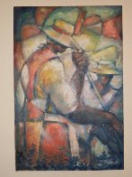 Untitled (Field Workers) 36x24 Original Painting by William Tolliver - 1