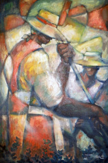 Untitled (Field Workers) 36x24 Original Painting - William Tolliver