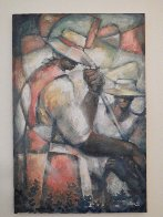 Untitled (Field Workers) 36x24 Original Painting by William Tolliver - 2