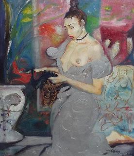 Sensuous Lady, Epoch 1993 50x38 Huge Original Painting - William Tolliver