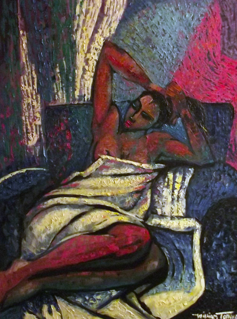 Amorous Lady 1993 48x38 Super Huge Original Painting by William Tolliver