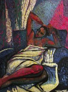 Amorous Lady 1993 48x38 Super Huge Original Painting - William Tolliver