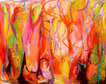In the Enchanted Woods 2015 55x69 Original Painting - Gabriela Tolomei