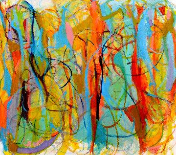 Children Dancing 2016 56x63 Original Painting - Gabriela Tolomei