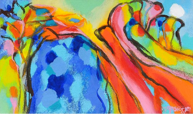 Appeared in Blue 2011 15x23 Original Painting by Gabriela Tolomei