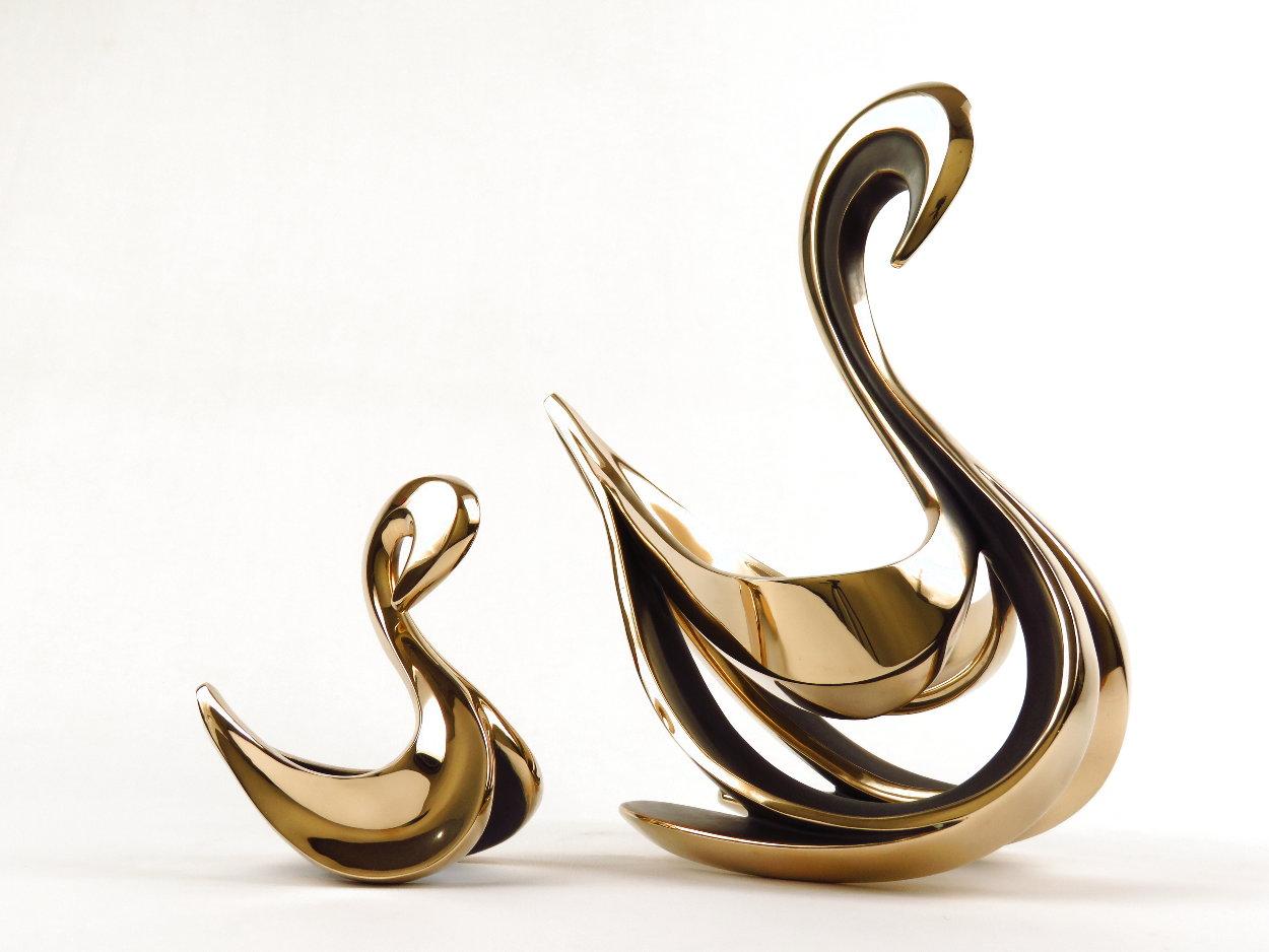 Swan Pair - Set of 2 Bronze Sculptures 1989 13 in Sculpture by Tom and Bob Bennett