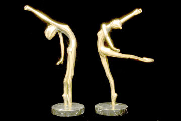 Carrie and Celeste Pair of Bronze Sculptures 1982 11 in Sculpture by Tom and Bob Bennett