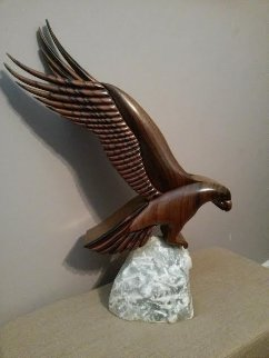Spiri of America Wood Sculpture 1987  (Eagle) 28 in  Sculpture - Tom and Bob Bennett