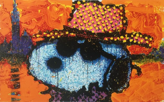 a Guy in a Sharkskin Suit Wearing a Rhinestone Hat At Twilight 2000 Limited Edition Print by Tom Everhart