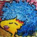 Bird Lips in a Blue Suede Wig 1997 Original Painting - Tom Everhart