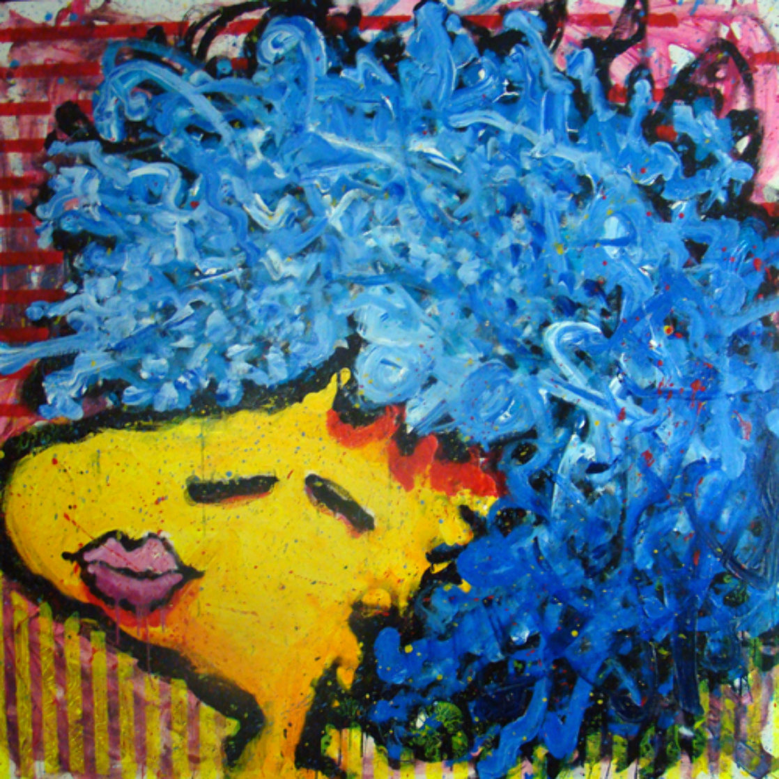 Bird Lips in a Blue Suede Wig 1997 Original Painting by Tom Everhart