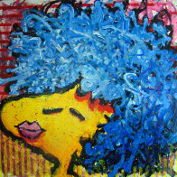 Bird Lips in a Blue Suede Wig 1997 Original Painting by Tom Everhart - 0