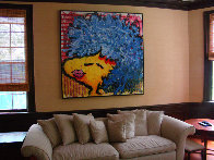 Bird Lips in a Blue Suede Wig 1997 Original Painting by Tom Everhart - 3