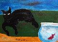 Cat Watching Fish  18x12 Original Painting - Tony Curtis