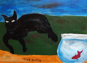 Cat Watching Fish  18x12 Original Painting - Tony Curtis