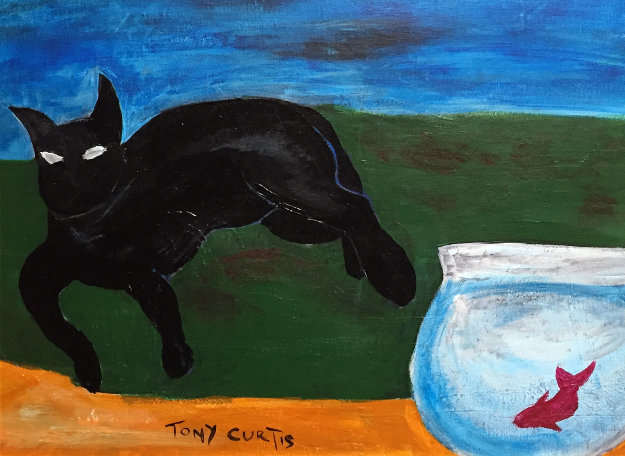 Cat Watching Fish  18x12 Original Painting by Tony Curtis