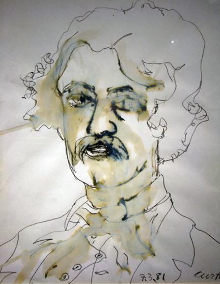 Edgar Allan Poe 1981 17x13 Drawing by Tony Curtis