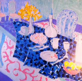 Table Set with Yellow Flowers 1987 29x24 Limited Edition Print - Tony Curtis