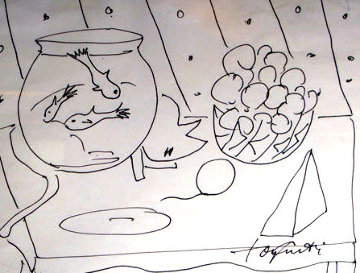 Peaceful Moment 1979 23x19 Drawing by Tony Curtis