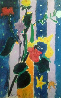 Bouquet of Flowers 1987 60x44 Original Painting - Tony Curtis