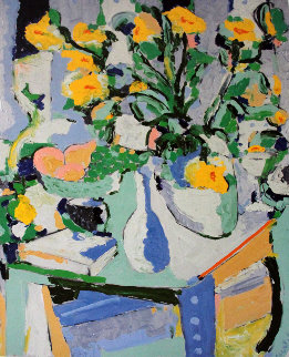 Yellow Flowers With Fruit 1987 Limited Edition Print - Tony Curtis
