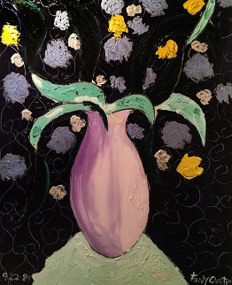 Flowers in Lavender Vase on Mint Table 1989 41x51 Super Huge Original Painting - Tony Curtis