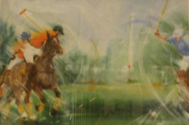 Polo II Pastel 1994 15x22 Original Painting by Janet Treby
