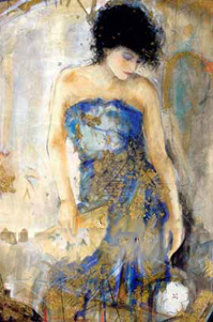Lady With Fan 1995 Limited Edition Print by Janet Treby