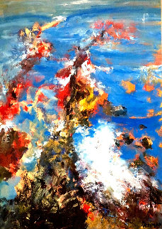 Malibu Rocks 1984 24x17 Original Painting - Joyce Treiman