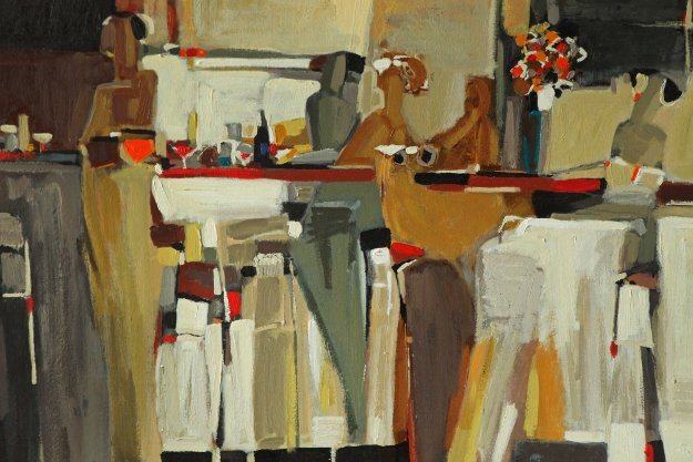 At the Bar 39x27 Original Painting by Yuri Tremler