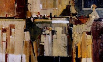 Cafe Terrace 1984 27x42  Huge Original Painting - Yuri Tremler