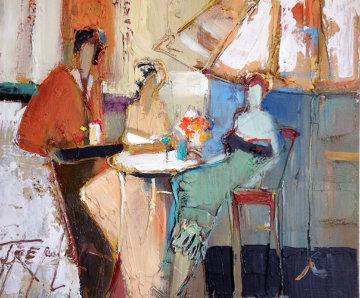 Untitled Bar Scene 20x24 Original Painting - Yuri Tremler