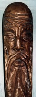Asian Man Wood Sculpture 1979 Sculpture - Bruce Turnbull