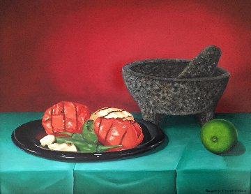 Salsa in the Making 2015 16x19 Original Painting - Rosemary Vasquez Tuthill