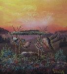Untitled Painting 1975 36x24 Original Painting - Loren Two-Bulls