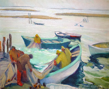 Fishing on the Maine 1920 31x36 Original Painting - Ruth Pershing Uhler