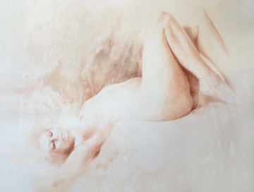 Nude Woman 1987 22x30 Watercolor - Angelo Vadala