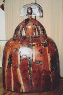 Menina Unique Wood Sculpture 1992  70x51 Sculpture - Manolo Valdes