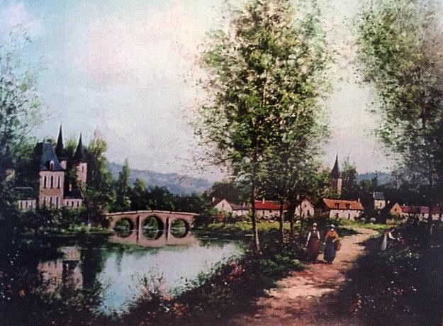 Chateaux Pontou Voix 1980 30x40 Original Painting by Paul Valere