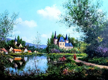 Chateau De Privoux 34x45 Original Painting - Paul Valere