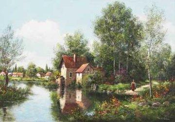 Le Moulin De Montragis  (Loire Valley in France) 1985 36x24 Original Painting by Paul Valere