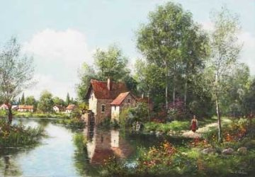 Le Moulin De Montragis  (Loire Valley in France) 1985 36x24 Original Painting - Paul Valere