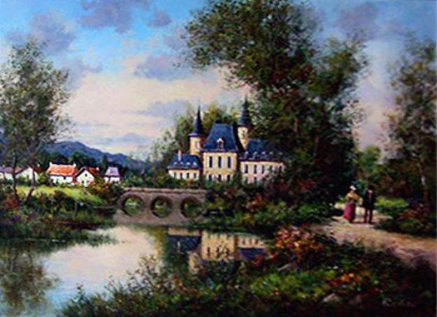 Chateau De Croissy 39x49 Original Painting by Paul Valere