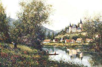 Chateau De La Villande 1986 34x44 Original Painting by Paul Valere