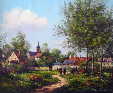 Le Sapey (Village D\' Anjou) 1982 19x25 Original Painting - Paul Valere