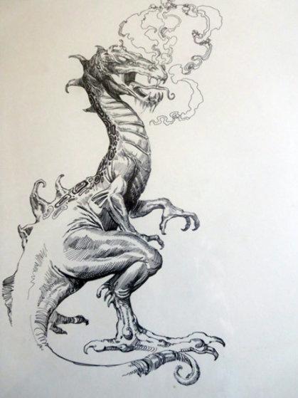 Dragon Drawing 1984 Drawing by Boris Vallejo