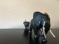 Elephant And Baby Running Bronze Sculpture 12 in Sculpture by Loet Vanderveen - 1