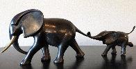 Elephant And Baby Running Bronze Sculpture 12 in Sculpture by Loet Vanderveen - 0