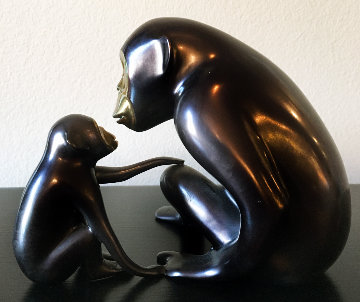 Chimp And Baby Bronze Sculpture 1998 7 in Sculpture - Loet Vanderveen
